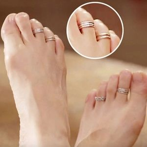 Boho Silver Triple Band Adjustable Toe Midi Ring